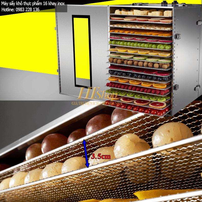 khay đặt thực phẩm của máy được làm bằng inox 304