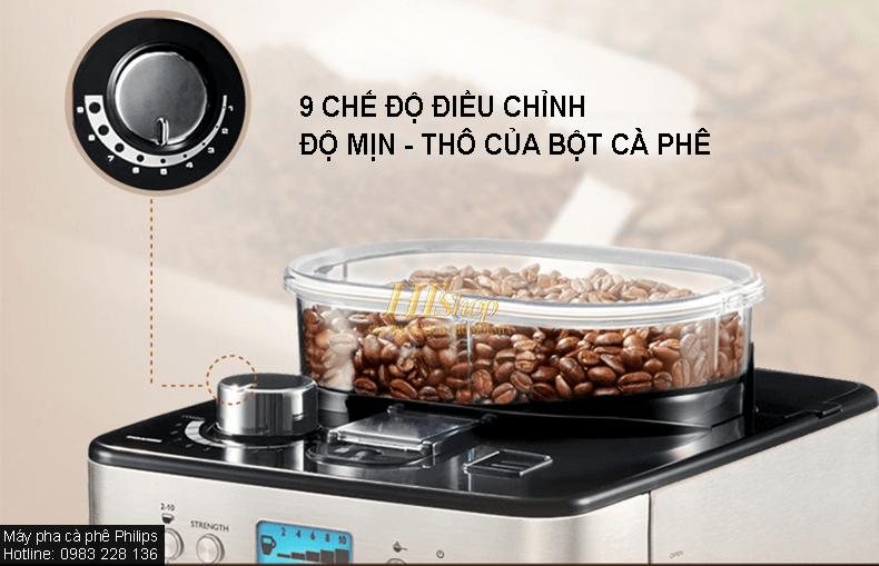 máy pha cà phê philips hd7751 có thể xay và pha cà phê hạt