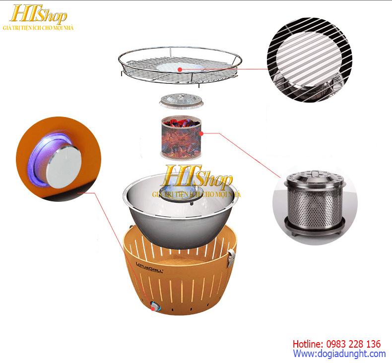 cấu tạo của bếp nướng than hoa