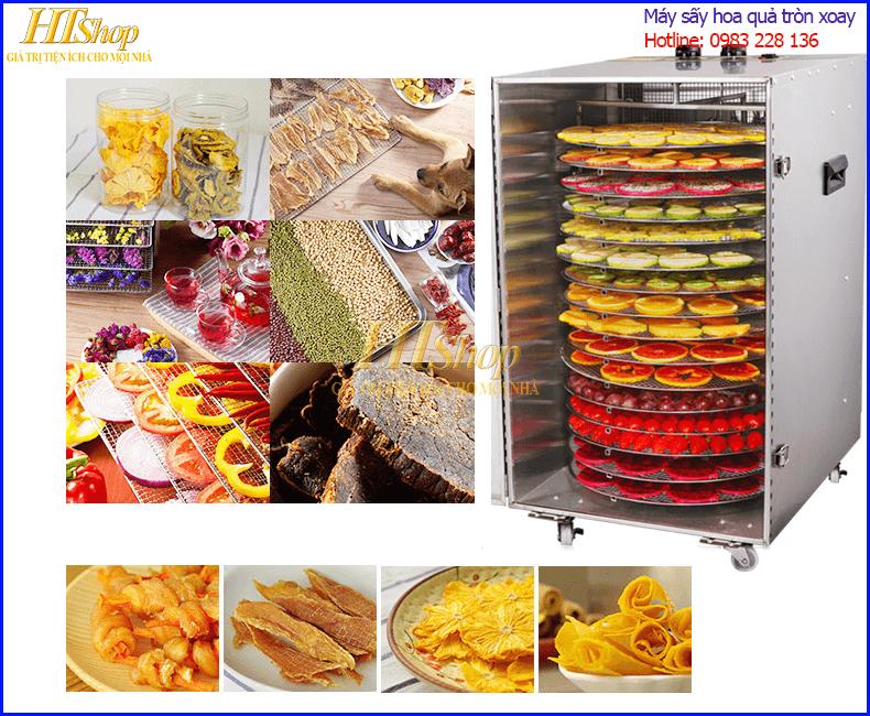 Máy sấy hoa quả 16 khay tròn tự xoay sấy khô cho đa dạng các loại thực phẩm