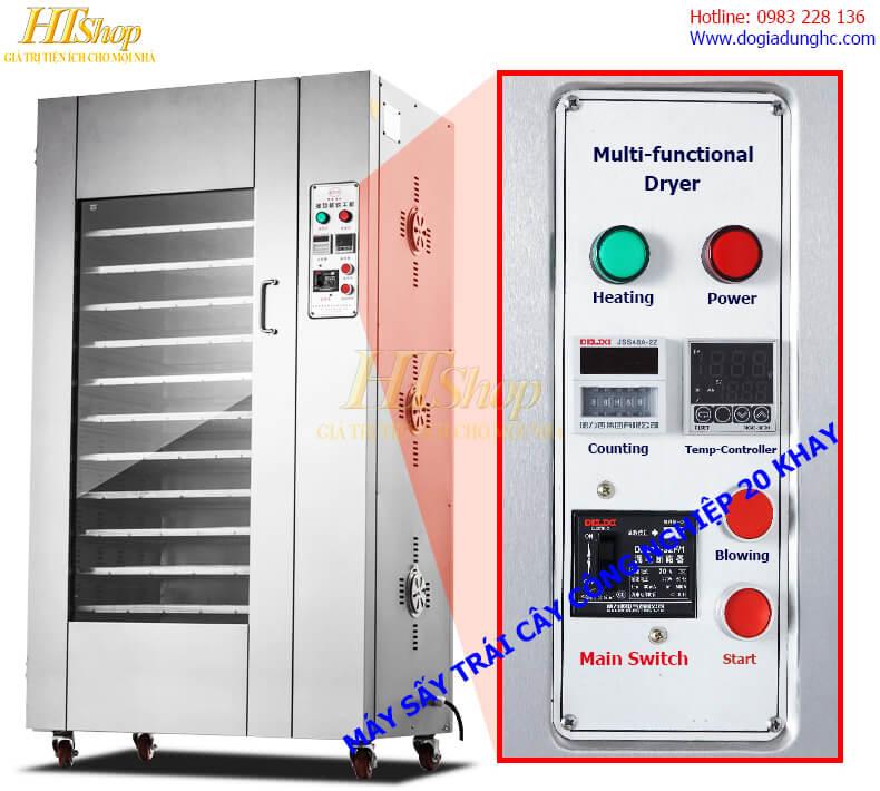 Bảng điều khiển máy sấy thực phẩm công nghiệp 20 khay